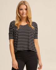 Bamboo Breastfeeding Boxy Tee - Black Stripe - Peachymama - 1
