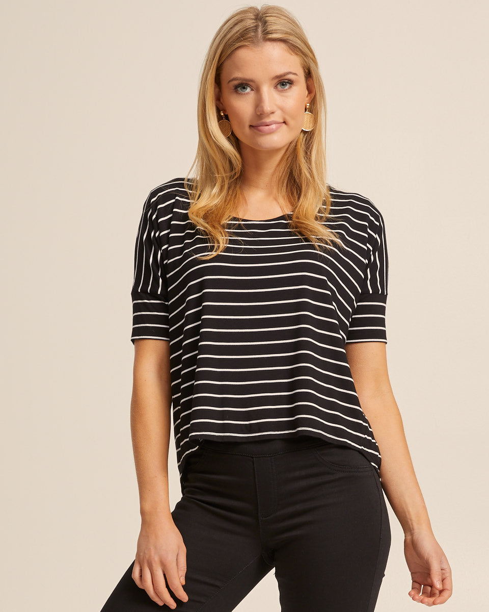 Bamboo Breastfeeding Boxy Tee - Black Stripe - Peachymama - 5