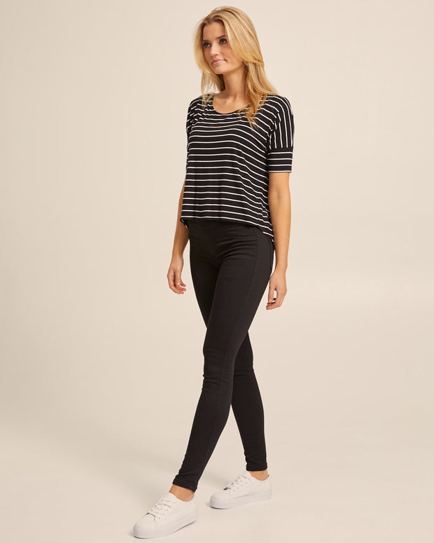 Bamboo Breastfeeding Boxy Tee - Black Stripe - Peachymama - 7