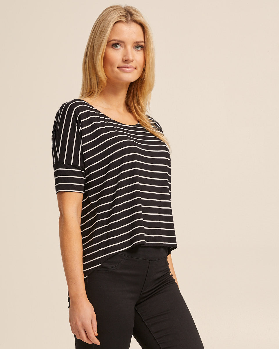 Bamboo Breastfeeding Boxy Tee - Black Stripe - Peachymama - 4