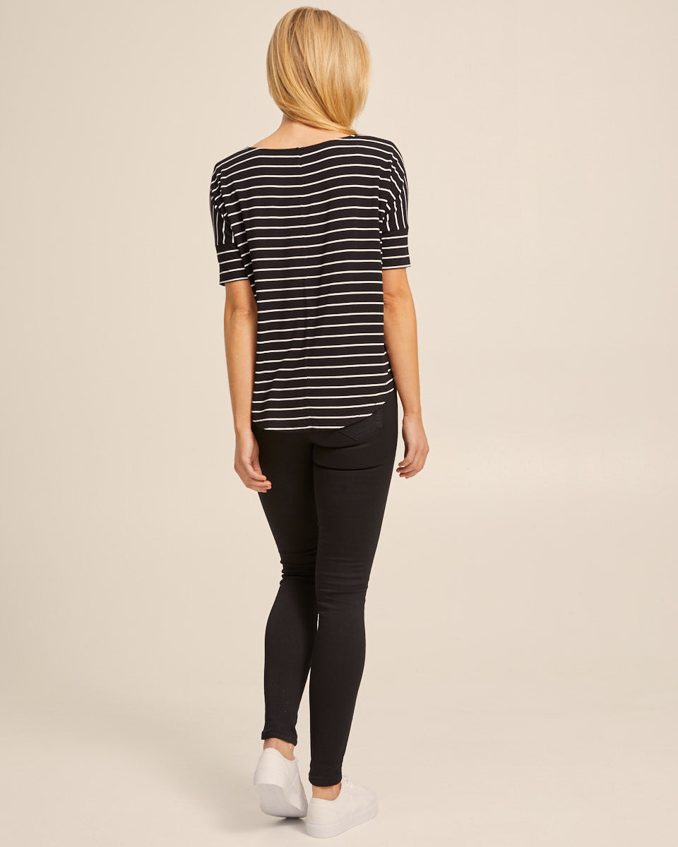 Bamboo Breastfeeding Boxy Tee - Black Stripe - Peachymama - 6
