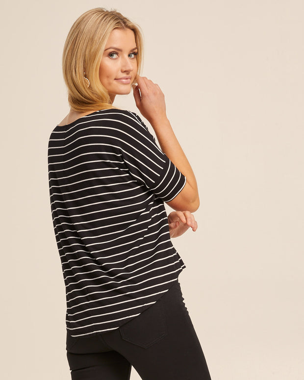 Bamboo Breastfeeding Boxy Tee - Black Stripe - Peachymama - 3