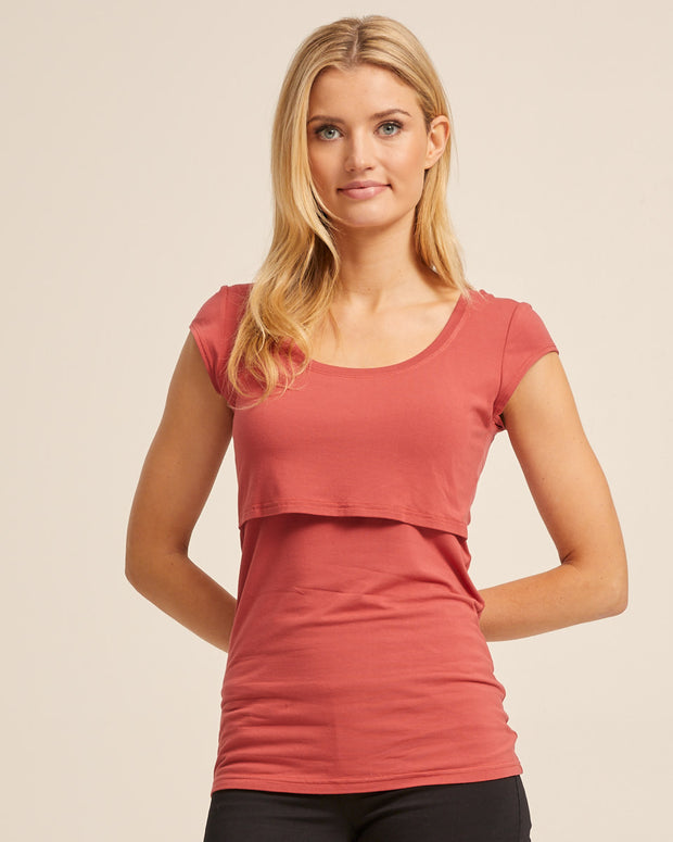 Bamboo Cap Sleeve Nursing Top - Rose - Peachymama - 1