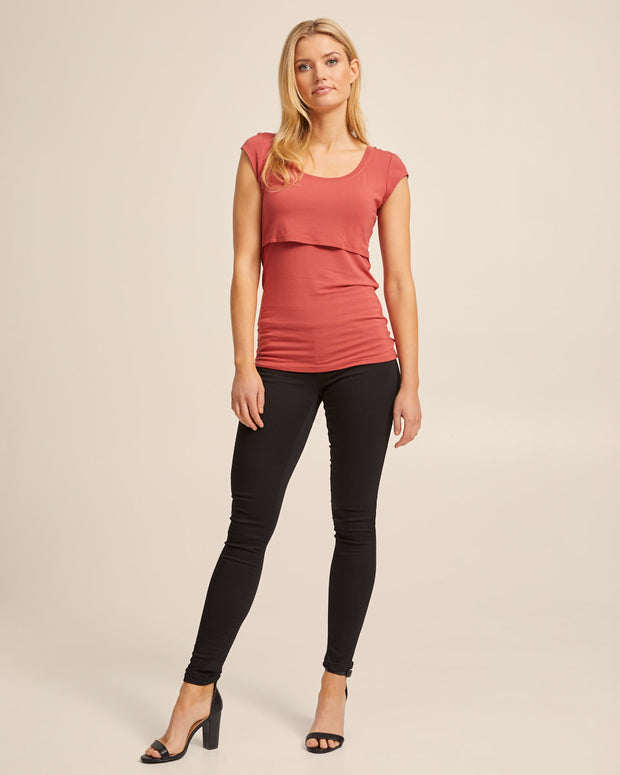 Bamboo Cap Sleeve Nursing Top - Rose - Peachymama - 6