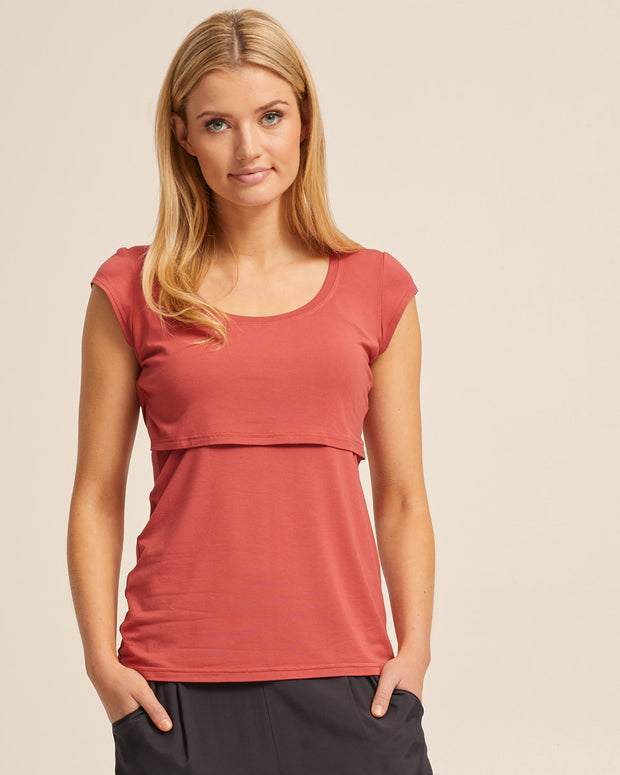 Bamboo Cap Sleeve Nursing Top - Rose - Peachymama - 5