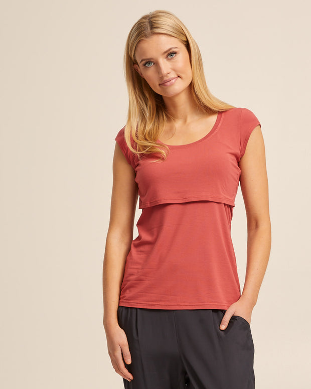 Bamboo Cap Sleeve Nursing Top - Rose - Peachymama - 4