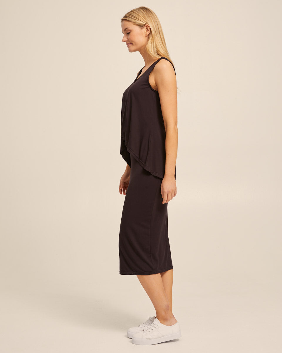 Waterfall Bamboo Nursing Dress - Black - Peachymama - 6