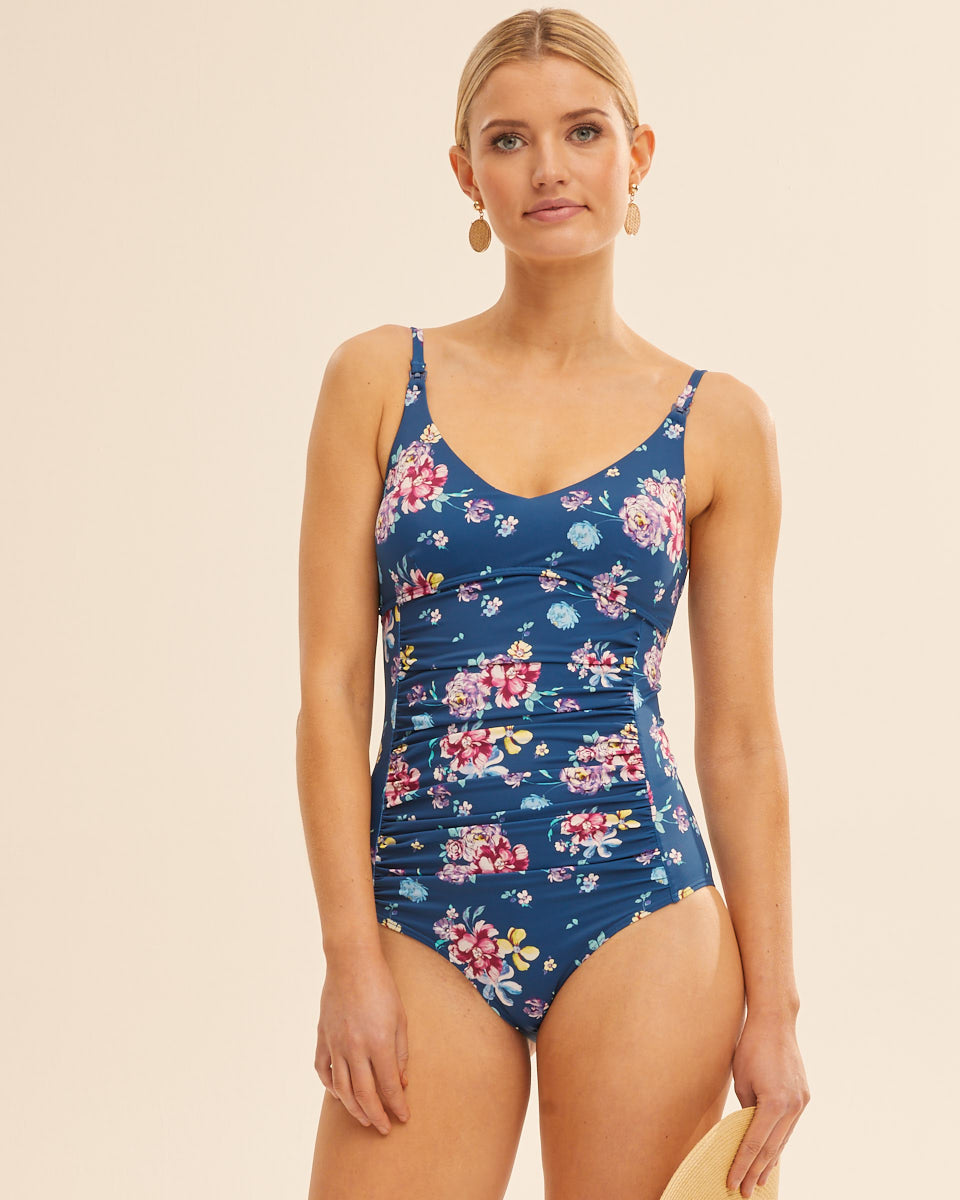 Nursing Swimsuit -  Blue Floral - Peachymama Australia 1