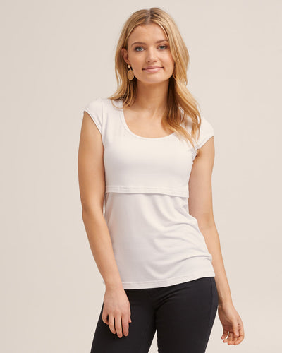 White Cap Sleeve Nursing Top