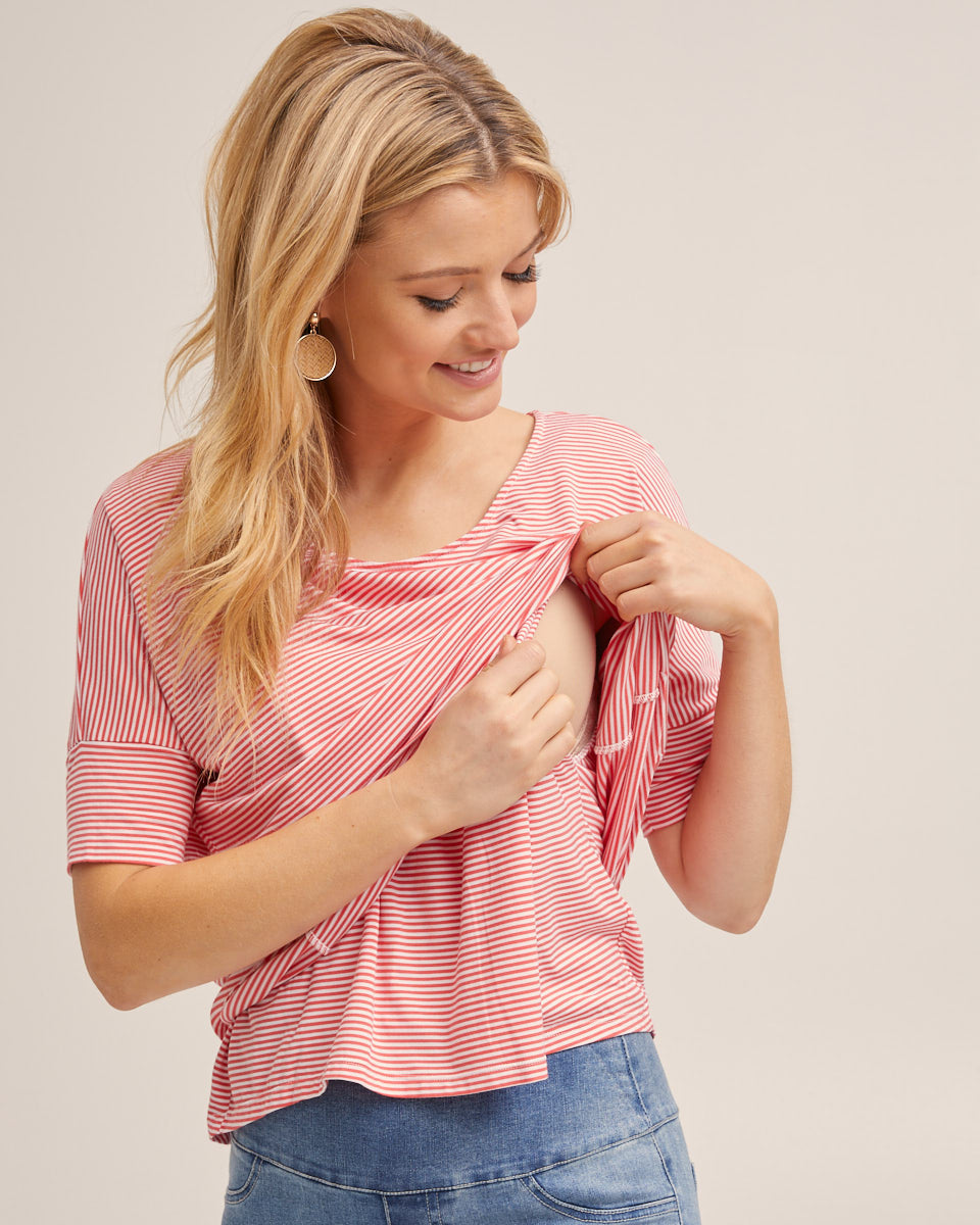 Breastfeeding Boxy Tee - Orange Stripe by Peachymama Australia 1