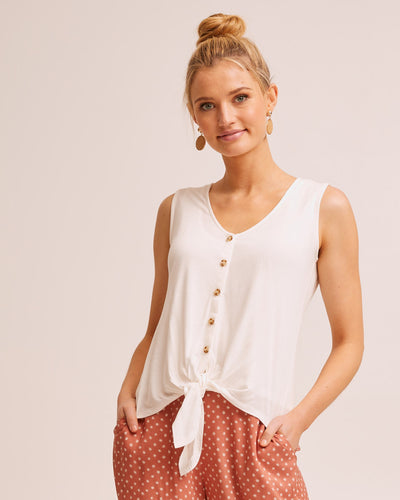 Tie Front Nursing Tank - Cream by Peachymama Australia 1