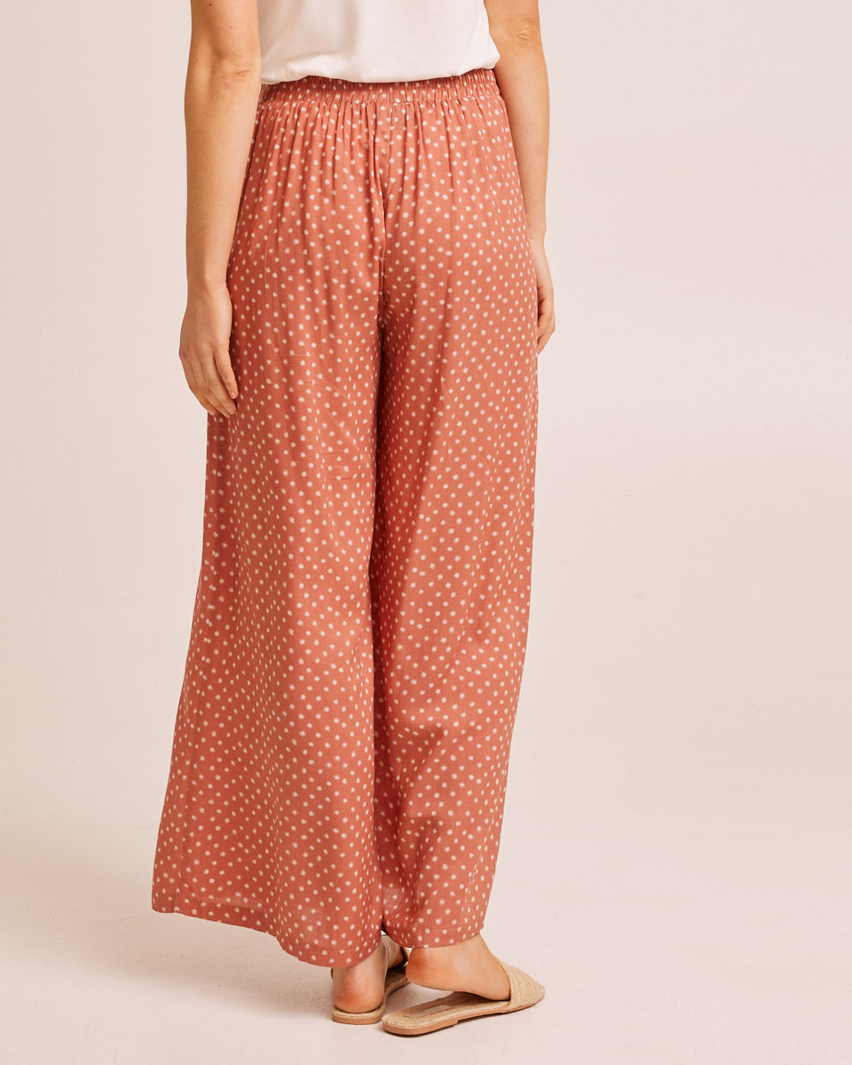 Wide Leg Post Pregnancy Pants - Rust Dot