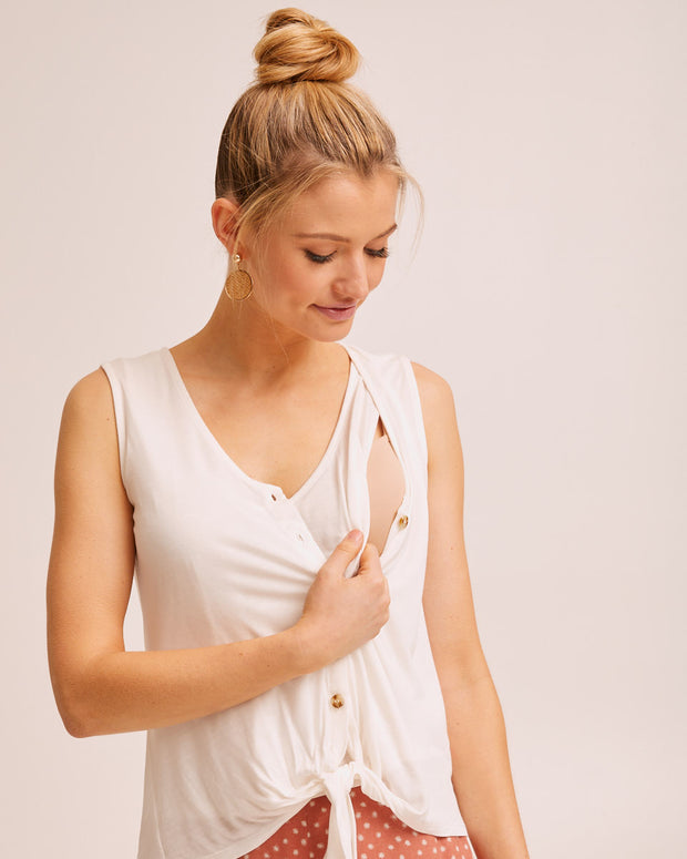 Tie Front Nursing Tank - Cream by Peachymama Australia 2