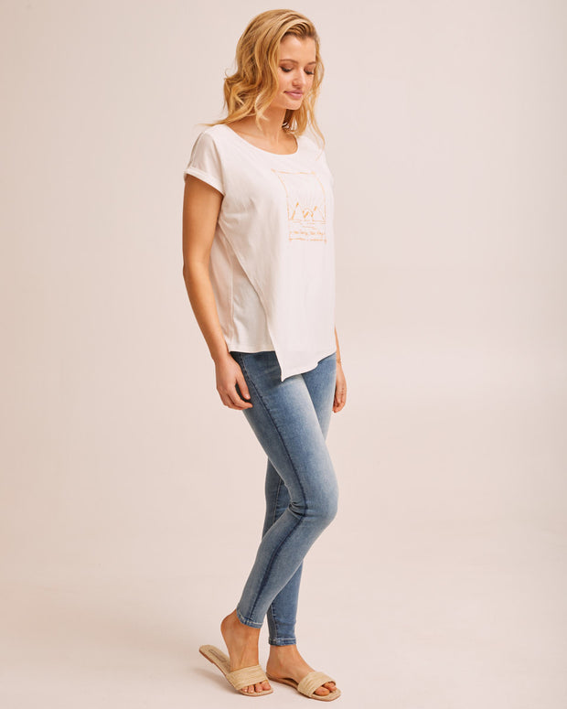 Asymmetric Nursing Tee - White
