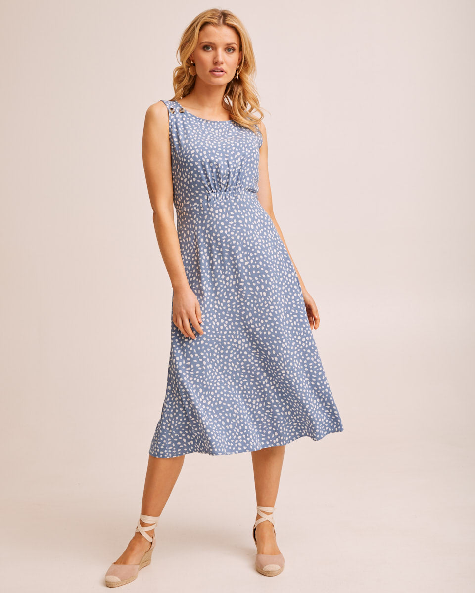 Midi Pinafore Nursing Dress - Blue Print by Peachymama Australia 6