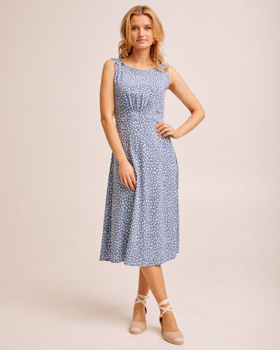 Midi Pinafore Nursing Dress - Blue Print by Peachymama Australia 1