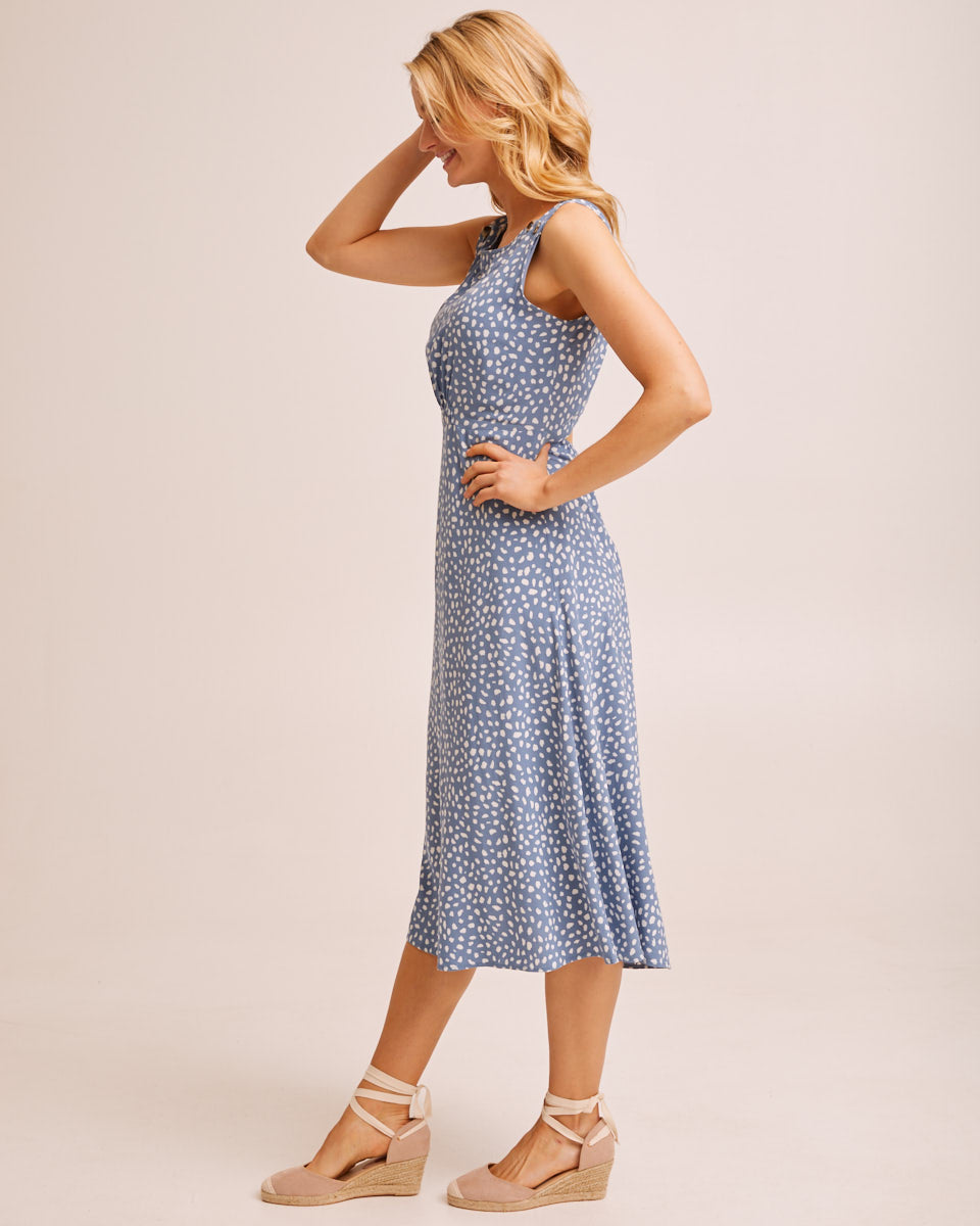 Midi Pinafore Nursing Dress - Blue Print by Peachymama Australia 3