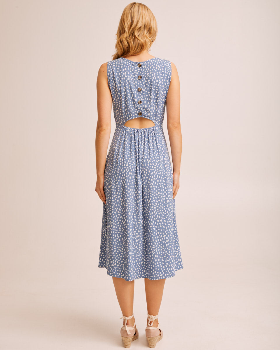 Midi Pinafore Nursing Dress - Blue Print by Peachymama Australia 4