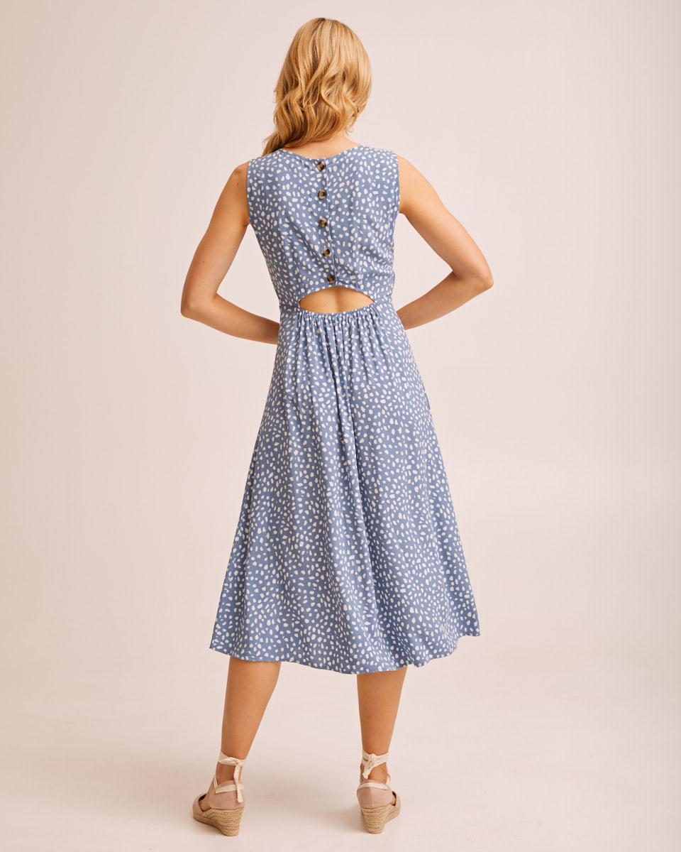 Midi Pinafore Nursing Dress - Blue Print by Peachymama Australia 5