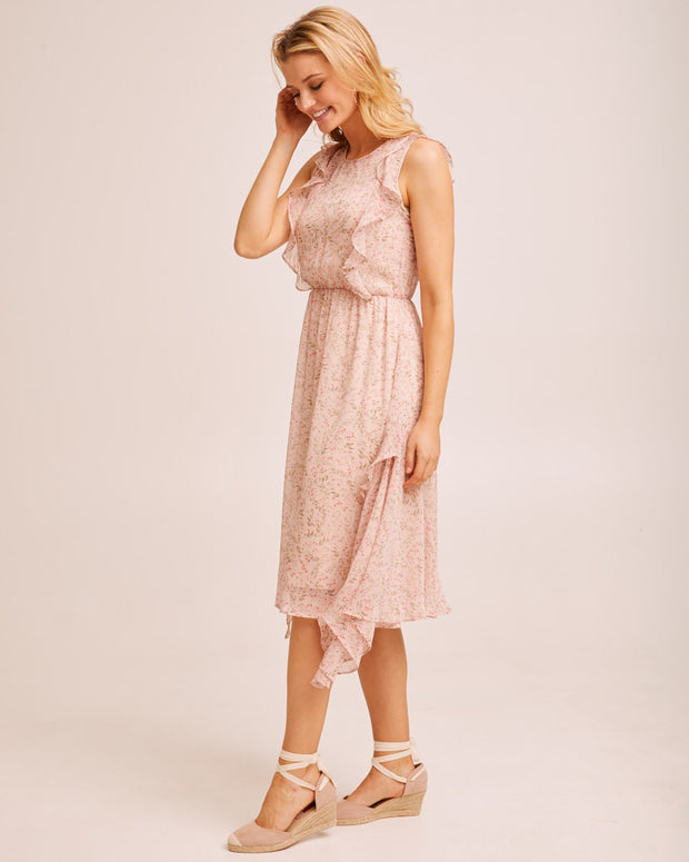 Sheer Ruffle Nursing Dress - Blush Floral by Peachymama Australia 4