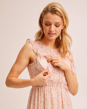 Sheer Ruffle Nursing Dress - Blush Floral by Peachymama Australia 2