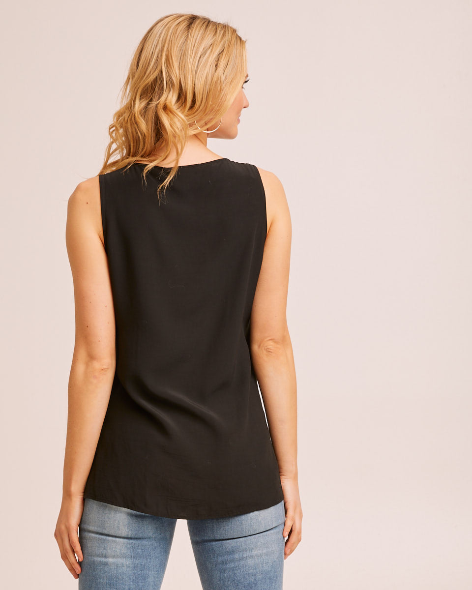 Drawstring Nursing Top - Black