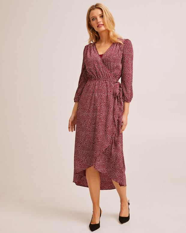 Burgundy Wrap Nursing Dress - Peachymama Australia 1