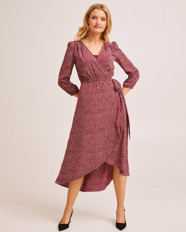 Burgundy Wrap Nursing Dress - Peachymama Australia 2