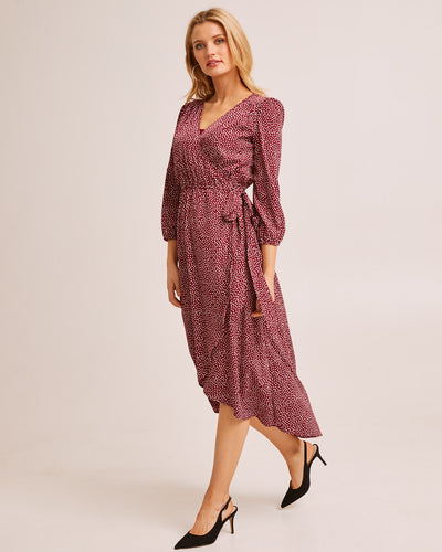 Burgundy Wrap Nursing Dress - Peachymama Australia 3