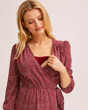 Burgundy Wrap Nursing Dress - Peachymama Australia 5