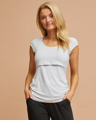 Bamboo Cap Sleeve Nursing Top - Grey Stripe