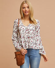 Cream Printed Bell Sleeve Nursing Top