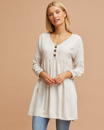 Natural Gathered Smock Nursing Top