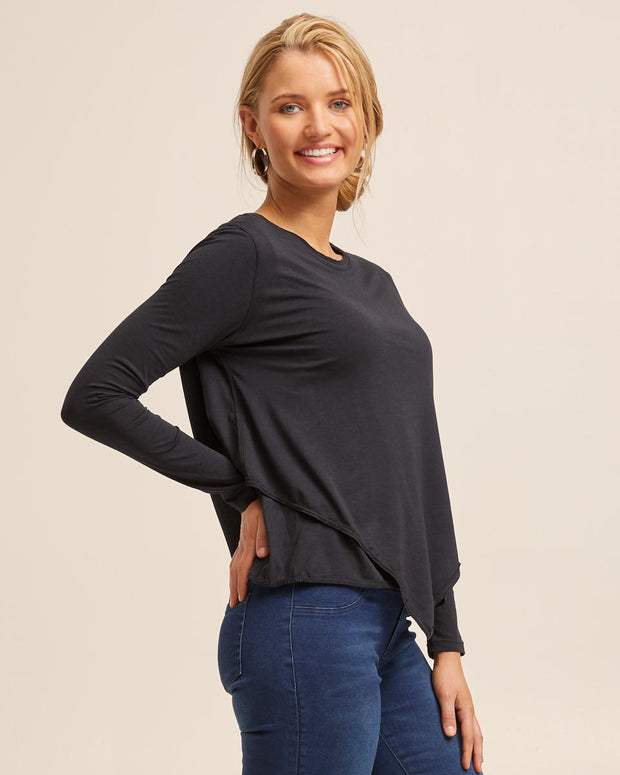 Black Bamboo Asymmetrical Long Sleeve Top