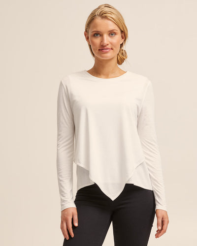 Ivory Bamboo Asymmetrical Long Sleeve Top