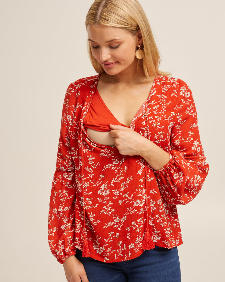 Tassle Nursing Top - Rust Red