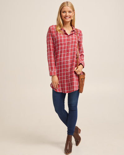 Red Check Long Nursing Shirt