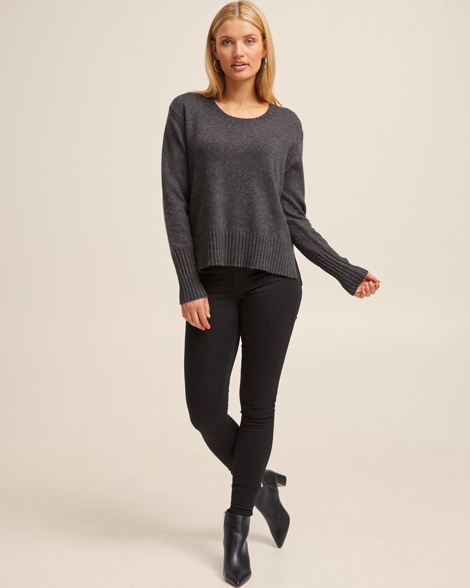 Nursing Knit Sweater -  Charcoal