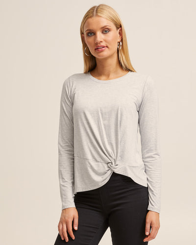 Grey Bamboo Long Sleeve Knot Top