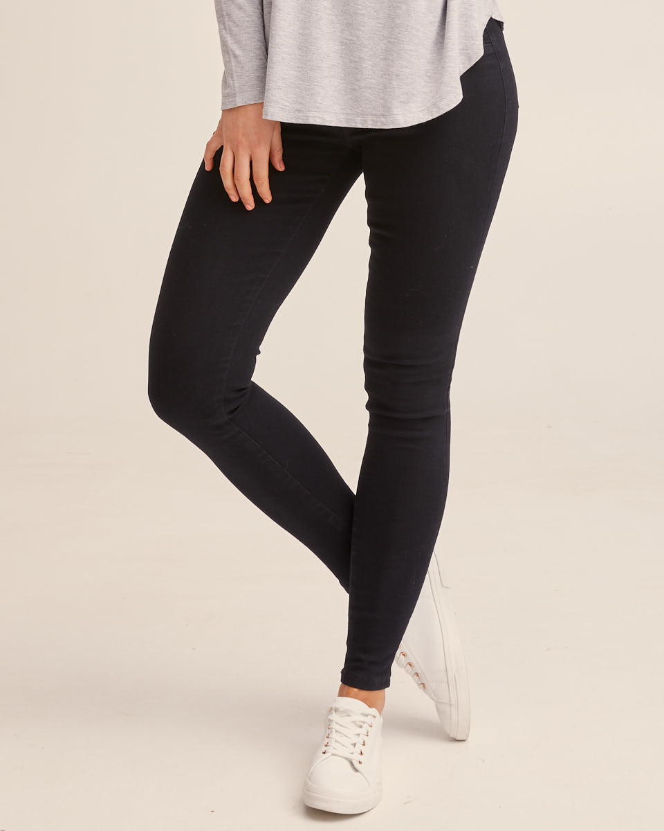 High Waist Stretch Denim Jeans - Black
