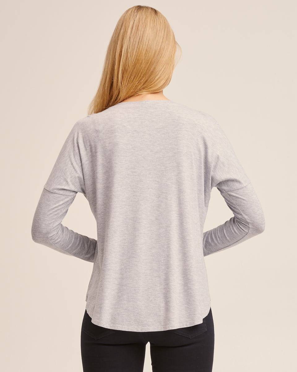 Bamboo Long Sleeve Nursing Tee - Grey Marle
