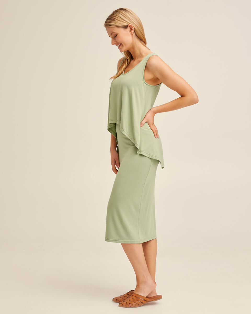 Waterfall Bamboo Nursing Dress - Khaki