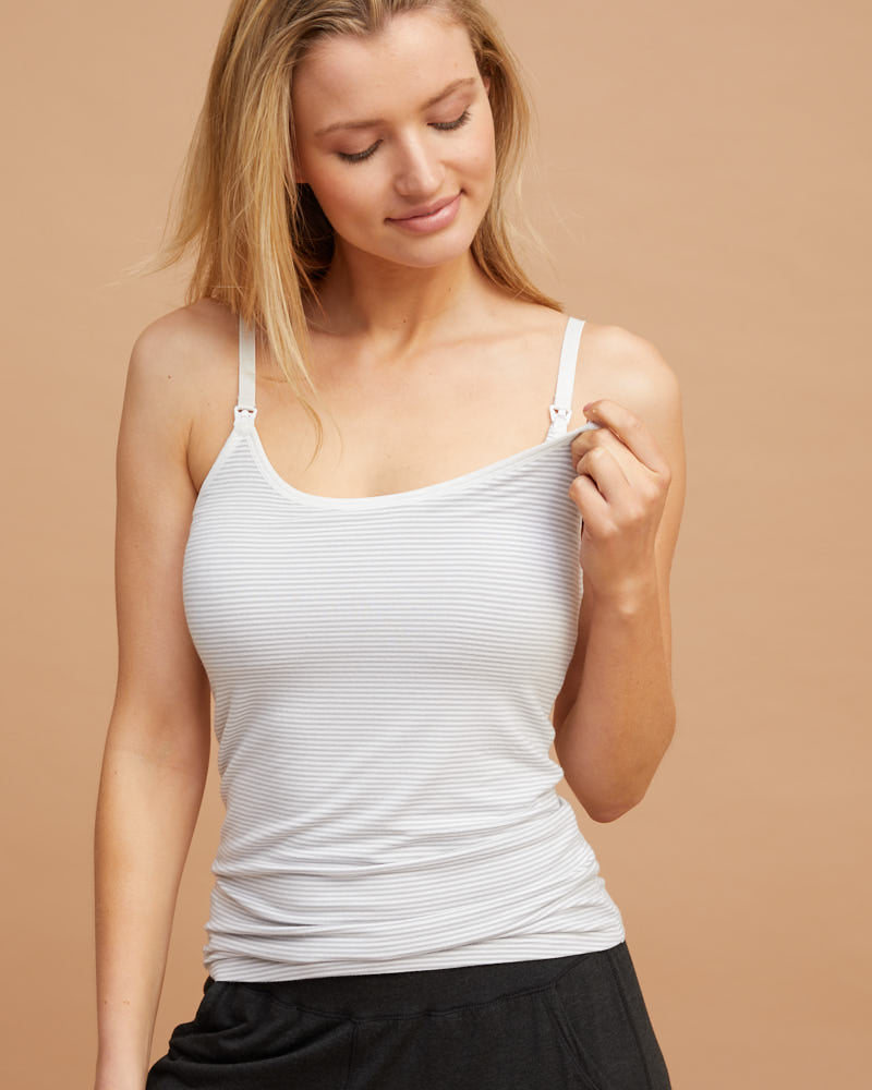 Nursing Cami Top - Grey Stripe