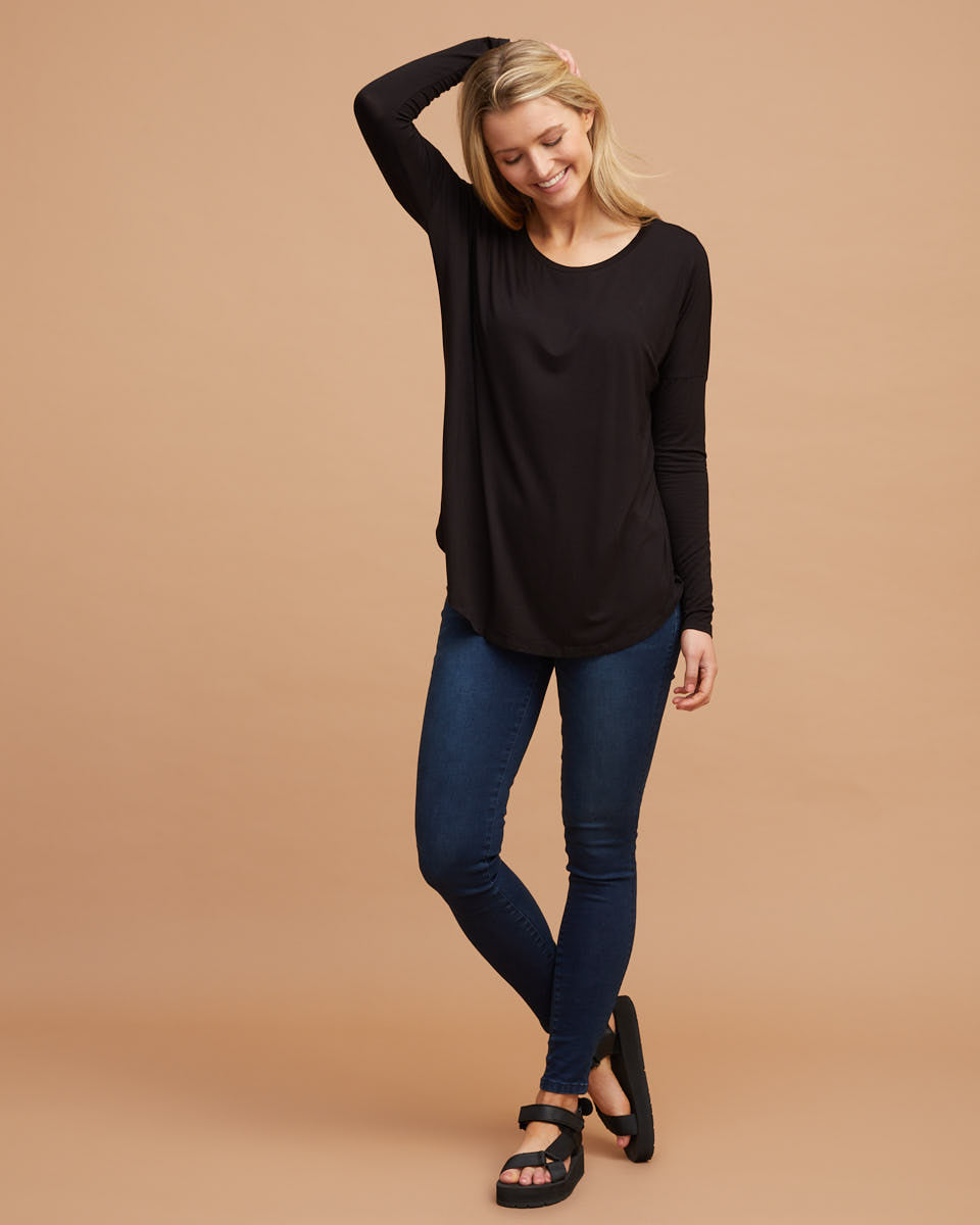 Bamboo Long Sleeve Nursing Tee - Black