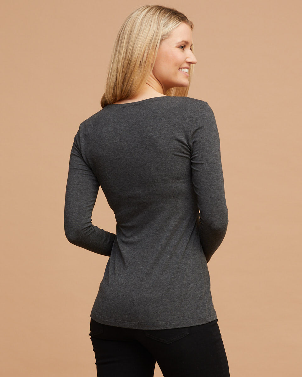 Bamboo Long Sleeve Nursing Tee - Charcoal Marle