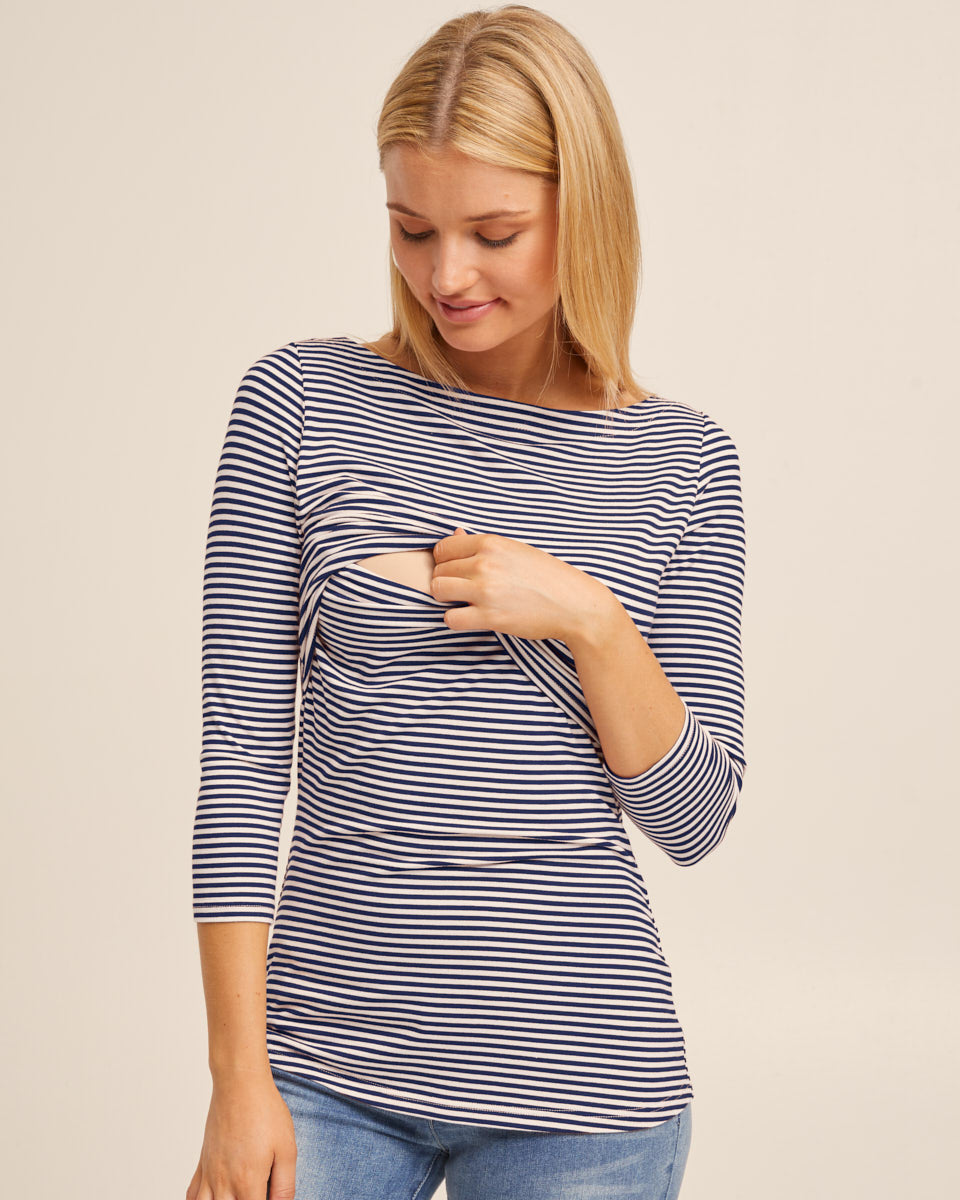 Bamboo Boat Neck Nursing Top - Navy