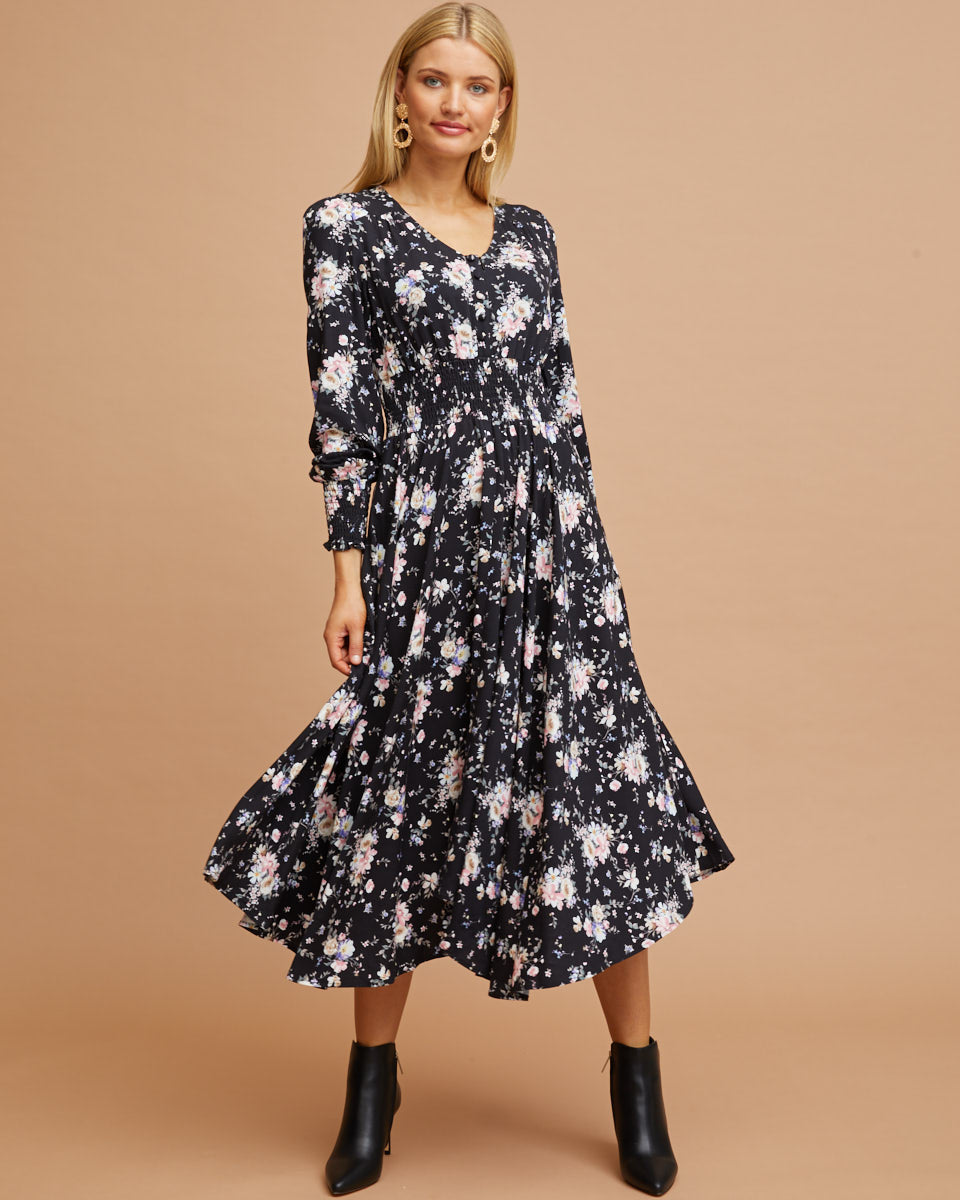 Shirred Nursing Dress - Black Floral Print