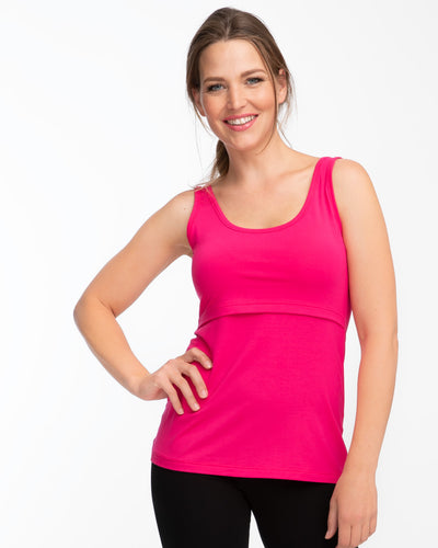 Pink cotton nursing tank top by Peachymama