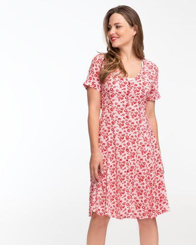 Red daisy nursing dress by Peachymama featuring Denisa 1