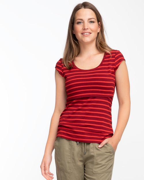 Deep red stripe cap sleeve nursing top by Peachymama 1